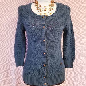 Frenchi Open Knitted Blue Green Cardigan Large